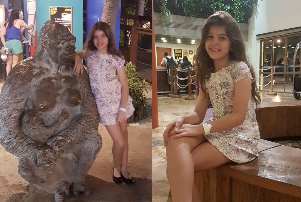 Nathália posa com seu vestido da Favo